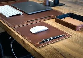 small leather desk blotter pad vintage mouse
