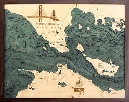 Nautical Wood Charts Straits Of Mackinac 3 D Nautical Wood Chart 24 5 X 31