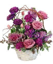 purple showers basket arrangement