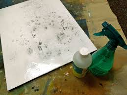 use a foam roller to apply a contrasting layer of colour i chose titanium white on top of the dry paint layer do not allow to dry