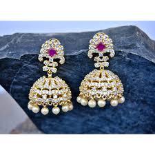 Diamond Earrings Traditional Designs Traditional Diamond Jhumka Earrings