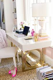 Glamorous home decor Bedroom Goldwhiteacryliclacquerdeskhomeofficewell The Well Appointed House Blog Glamorous Home Offices The Well Appointed House Blog Living The