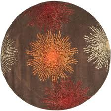 safavieh soho brown and multicolor round indoor tufted area rug common 6 x 6