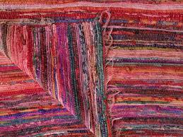hand loomed rag rug pink color theme chindi carpet ts cr 001