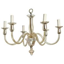 six arm pale amber murano glass chandelier