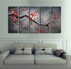 image is loading large canvas wall art 5 piece panel set  on 5 piece canvas wall art trees with large canvas wall art 5 piece panel set red tree modern contemporary