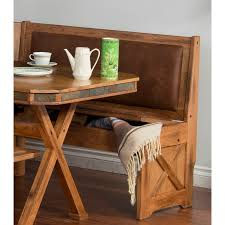 leather breakfast nook furniture. Custom Rustic Breakfast Nook Set With Storage Bench Under Seat Brown Leather Back And Table Cross Legs Furniture