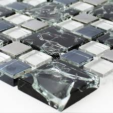 mosaic tiles glass stainless steel black silver broken