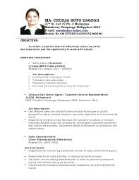 Sales Support Representative Sample Resume Custom Sample Resumes For Call Center Jobs Resume Example For Call Center