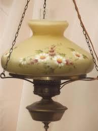 vintage farm house light hanging hurricane lamp w painted milk glass shade