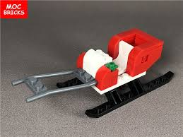 set moc bricks diy sleigh santa sled figure building blocks