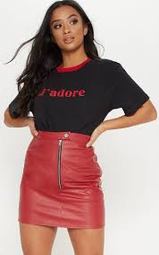 petite red zip detail faux leather skirt image 1