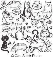 Disegnare Set Scarabocchiare Grafico Stile Mano Gatti