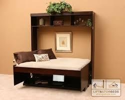 dark wood hidden desk bed