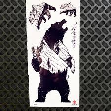 лес гора временные татуировки наклейки полярный черный медведь орел гепард