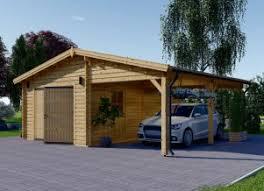 Garage En Bois 400x595 44mm+Carport 300x595, 40m²