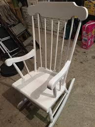 white wooden rocking chair. White Wooden Rocking Chair With Pink Cushions N