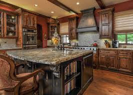 rustic wood kitchen with dark distressed wood island
