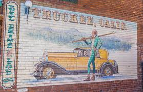 classic mural in the old west town of truckee california editorial photography image