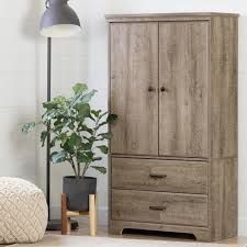 Weathered Oak Furniture South Shore Versa Weathered Oak Armoire 10607 The Home Depot