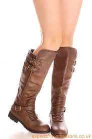 boots brown faux leather buckle zipper knee boots