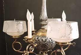 victorian six light gas chandelier 1880 s usa