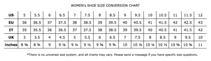 Shoe Size Conversion Chart Women Size Conversion Charts United Apparel Liquidators Ual
