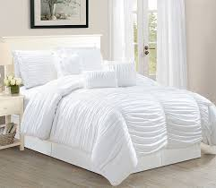 odessa queen size 7 piece tufted ruffle comforter bedding set soft oversized bed in a bag white com