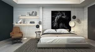 Monochromatic Bedroom Brick Wall Decor Floor Lamps