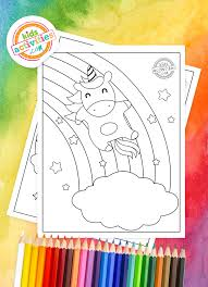 Rainbow coloring page from natural phenomena category. Free Printable Unicorn Rainbow Coloring Pages For Kids