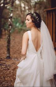 Flower Crown With Cathedral Veil Open Back Wedding Dress