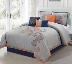 chezmoi collection naomi 7 piece navy orange paisley fl embroidery comforter bedding set california king grey naomi