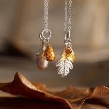 silver oak leaf necklace or acorn by lily charmed