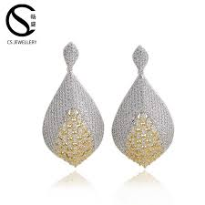 new model belgium jewelry gold plated two tone long earrings