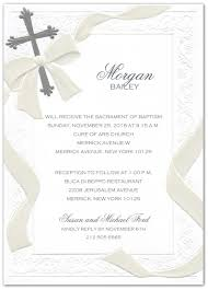 Silver Foil Cross And Pearl Ribbon Baptism Christening Invitations