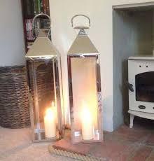 Two+Large+Silver+Knightsbridge+Candle+Lanterns