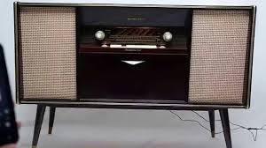 Cabinet Record Player Vintage Mid Century Modern Emud German Stereo Console Bluetooth Am