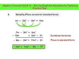 4 algebra i concept test 15 solving quadratic equations by factoring