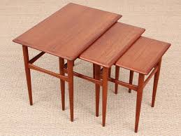 mid century modern scandinavian nesting tables in teak