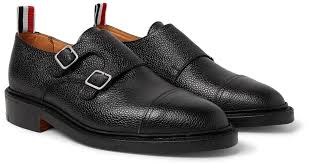 thom browne pebble grain leather monk strap shoes in black for men lyst