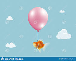 Goldfish Fly With Balloon Mixed Media Gold Fish Floating