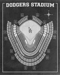 Vintage Print Of Los Angeles Dodgers Stadium Seating Chart Baseball Blueprint On Photo Paper Matte Paper Or Stretched Canvas