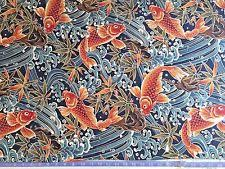 Koi Fish Fabric | eBay & Koi Fish - BLUE Asian Japanese Quilt Fabric (By The Half Yard) Chinese, Adamdwight.com