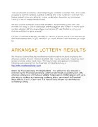 Mega Millions Number Frequency Chart Mega Millions Results For The Arkansas Lottery