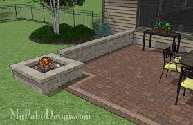 Small Picture Rectangular Patio Design with Seat Walls and Fire Pit Download