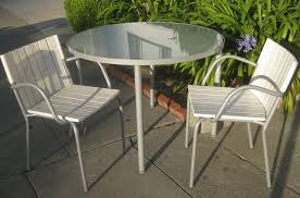 outdoor compact white patio chairs with round glass top table patio table and chair
