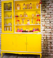 Kitchen Decorative Filled Jars Colorful Bright Yellow Welsh Dresser Stock Photo Image of living 65