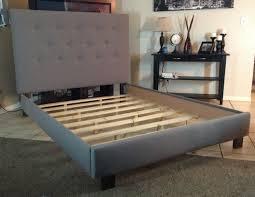 diy upholstered bed. Splendid Queen Or Full Size Headboard And Bed Frame Gray Linen Upholstered Diy