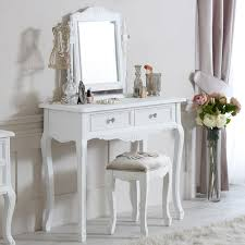 elise white range dressing table mirror and stool