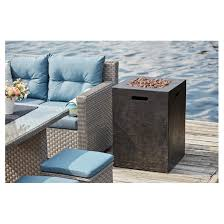 propane outdoor fireplace column 40 000 btu black